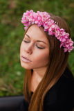 Beautiful portrait of a blonde girl with a pink crown Stock Photos