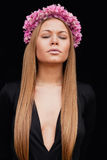 Beautiful portrait of a blonde girl with a pink crown Stock Photography