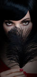 Fashion beauty portrait of brunette woman with black feather Stock Image