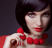 Fashion beauty portrait of brunette woman with stylish necklace Royalty Free Stock Photos