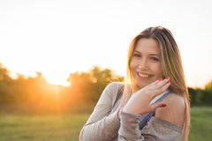 Beautiful portrait of carefree friendly approachable girl with a stunning smile and cute looks Royalty Free Stock Image
