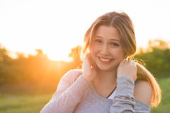 Beautiful portrait of carefree friendly approachable girl with a stunning smile and cute looks Royalty Free Stock Photo