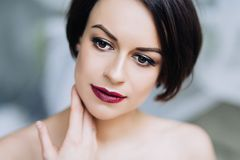Beautiful portrait of caucasian attractive woman with make up, fashion portrait of tender woman royalty free stock photo