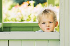 Beautiful portrait of child boy outdoors. Royalty Free Stock Images