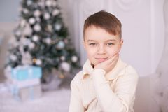 Beautiful portrait. Christmas interior. Little boy. Horizontally. Photo. Light background Royalty Free Stock Photography