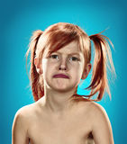 Beautiful portrait of a displeased disaffected little girl Stock Images
