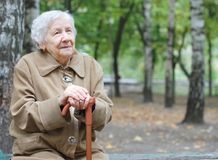 Beautiful portrait of an elder woman outdoors Royalty Free Stock Images
