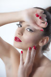 Beautiful portrait of fashion woman with red lips Stock Photos