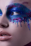Beautiful portrait of a girl with art make-up and a painted body Stock Images