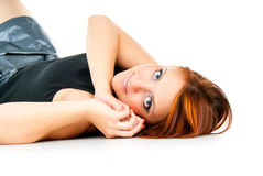 Beautiful portrait of a girl lying Stock Photos