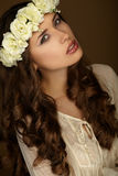Beautiful portrait of girl with wreath. Makeup Stock Photography