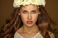 Beautiful portrait of girl with wreath. Makeup Royalty Free Stock Images