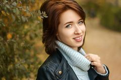 Beautiful portrait of a happy young woman royalty free stock photo