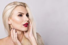 Beautiful portrait of a model with red lips Royalty Free Stock Image