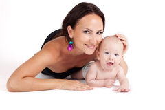 Beautiful portrait of a mother and her baby Royalty Free Stock Image