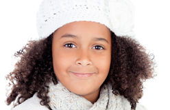 Beautiful portrait of pretty african girl with wool hat Stock Photography