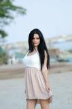 Beautiful portrait of a pretty lady wear short dress Stock Image