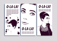 Beautiful portrait retro woman,  illustration. Copy space for text may be used as template for beauty advertising banner Stock Image