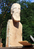 Beautiful portrait sculpture, in wood, unfinished Royalty Free Stock Photography