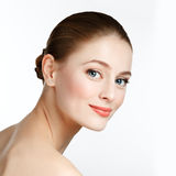 Beautiful portrait of smiling woman with healthy skin - isolated Stock Photos