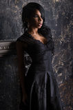 Beautiful portrait of woman in beautiful black dress Stock Photography