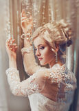 Beautiful portrait of a woman with blonde hair with an evening make-up . royalty free stock image