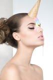 Beautiful portrait of woman with fashion makeup Stock Photo