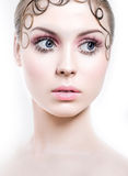Beautiful portrait of a woman with long lashes Royalty Free Stock Photography
