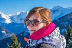 Beautiful portrait of a woman at Samoens 1600m. royalty free stock photography