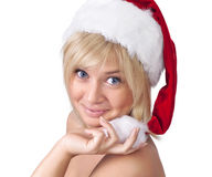 Beautiful portrait of woman in Santa Claus hat Stock Image