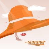 Beautiful portrait woman wearing elegant wide-brimmed hat. Vector vintage illustration. Miss Summer vector illustration
