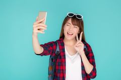 Free Beautiful Portrait Young Asian Woman Cheerful Smiling And Take Selfie On Smart Mobile Phone Royalty Free Stock Photography - 155828347