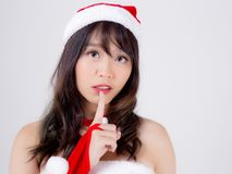 Free Beautiful Portrait Young Asian Woman Santa Costume Wear Hat Smiling And Thinking In Holiday Xmas Stock Photo - 162398920