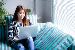 Beautiful of portrait young asian woman using laptop for leisure on sofa in living room, girl working online. With notebook freelance with a happy Stock Photo