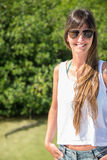 Beautiful Portrait of Young girl with sunglass. Natural, no make Royalty Free Stock Photo