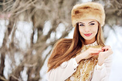 Beautiful portrait of young woman in winter.  Stock Photo