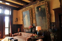 Beautiful portraits of Katrina and Spencer Trask,on the walls of sitting room,Yaddo Gardens,Saratoga Springs,New York,2014. Beautiful, ornate portraits of Royalty Free Stock Image