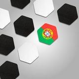 Beautiful Portugal Ball Texture. Leather hexagons with the Portugal flag in the middle.Grey to white background Royalty Free Stock Image
