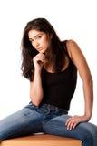 Beautiful posing fashion woman stock photography