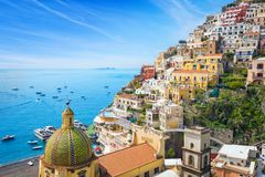 Beautiful Positano, Amalfi Coast in Campania, Italy. Beautiful Positano with colorful architecture on hills leading down to coast, comfortable beaches and azure stock photo