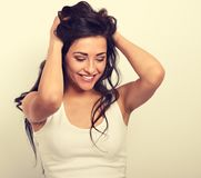 Beautiful positive excited laughing young woman holding the hand Stock Photos