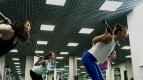 Beautiful Positive Fit Women Are Engaged With A Barbell. Beautiful Positive Fit Women Training With A Bars During Group Exercise Class In The Gym. The Concept Of stock footage