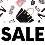 A beautiful postcard with stylish female accessories, bags, shoes, perfumes and cosmetics. Vector illustration. Royalty Free Stock Images