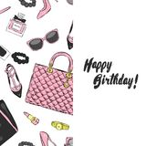 A beautiful postcard with stylish female accessories, bags, shoes, perfumes and cosmetics. Vector illustration. Royalty Free Stock Image