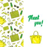 A beautiful postcard with stylish female accessories, bags, shoes, perfumes and cosmetics. Vector illustration. Royalty Free Stock Photography