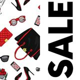 A beautiful postcard with stylish female accessories, bags, shoes, perfumes and cosmetics. Vector illustration. Stock Image