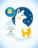 Beautiful postcard to Merry Christmas and Happy New Year. Vector illustration with northern stars and white dog and yellow dog. Decorative winter design Royalty Free Stock Image