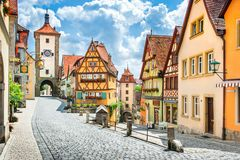 Historic town of Rothenburg ob der Tauber, Franconia, Bavaria, G stock photography