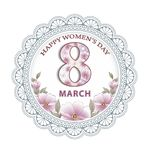 March 8 Happy Women`s day background. Beautiful postcard for women with a floral background in a round lace frame Vector Illustration