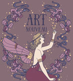 Beautiful poster in art nouveau style with fairy woman and irises floral frame vector illustration